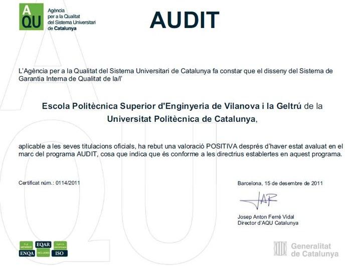 Certificat AQU SGIQ AUDIT